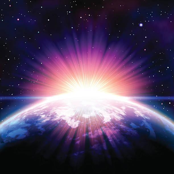 восход солнца в пространстве - духовность stock illustrations