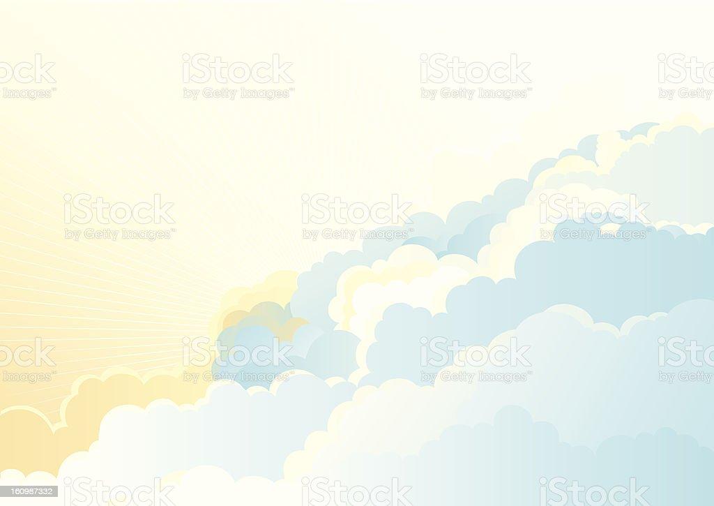 sunrise in the cloudy sky vector art illustration
