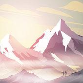 Sunrise inmountains landscape with explorers