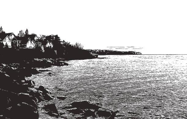 sunrise. lake superior, minnesota - lake superior stock illustrations, clip art, cartoons, & icons