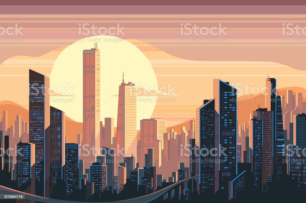 市の日の出風景 ベクターアートイラスト