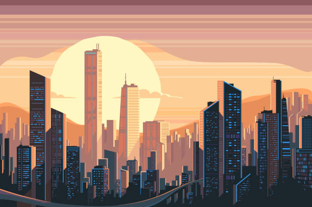 illustrazioni stock, clip art, cartoni animati e icone di tendenza di sunrise landscape in city - city