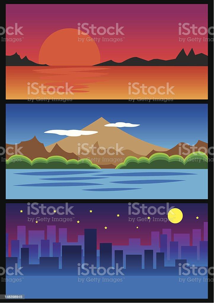 Sunrise, mountain and city night. vector art illustration