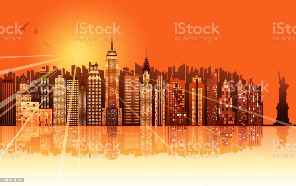 sunrise of new york city royalty-free stock vector art