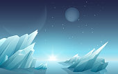 Sunrise on another alien planet landscape with ice rocks, planets, stars at sky. Galaxy space nature panorama.
