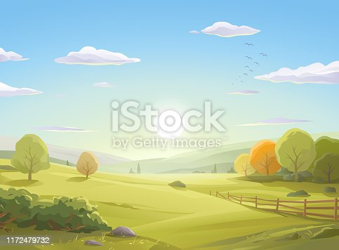 Vector illustration of a sunrise over a beautiful autumn landscape with colorful trees, bushes, a fence, hills, green meadows and a blue cloudy morning sky. Art on layers and easily edited and scaled.