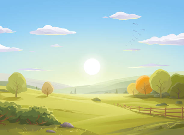 Sunrise Over Autumn Landscape Vector illustration of a sunrise over a beautiful autumn landscape with colorful trees, bushes, a fence, hills, green meadows and a blue cloudy morning sky. Art on layers and easily edited and scaled. landscapes stock illustrations