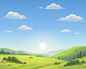 Vector illustration of a sunrise over a beautiful rural landsapce with trees, bushes, hills and green meadows. Illustration with space for text.
