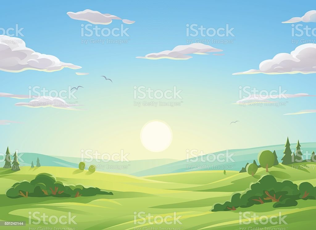 Sunrise Over Green Hills vector art illustration