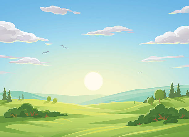 stockillustraties, clipart, cartoons en iconen met sunrise over green hills - natuur