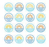 Sunrise over sea. Sunset over ocean. Summer round labels, emblems with sun & waves. Set of line symbols, signs for travel & tourism. Colorful vector illustration
