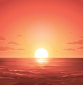 A beautiful sunrise over the sea. Vector illustration with space for text.
