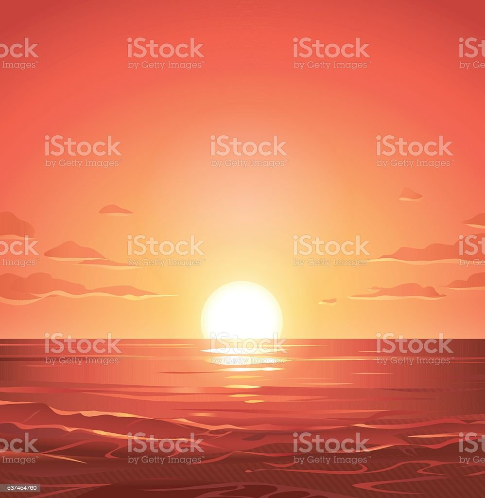 Sunrise Over The Sea vector art illustration