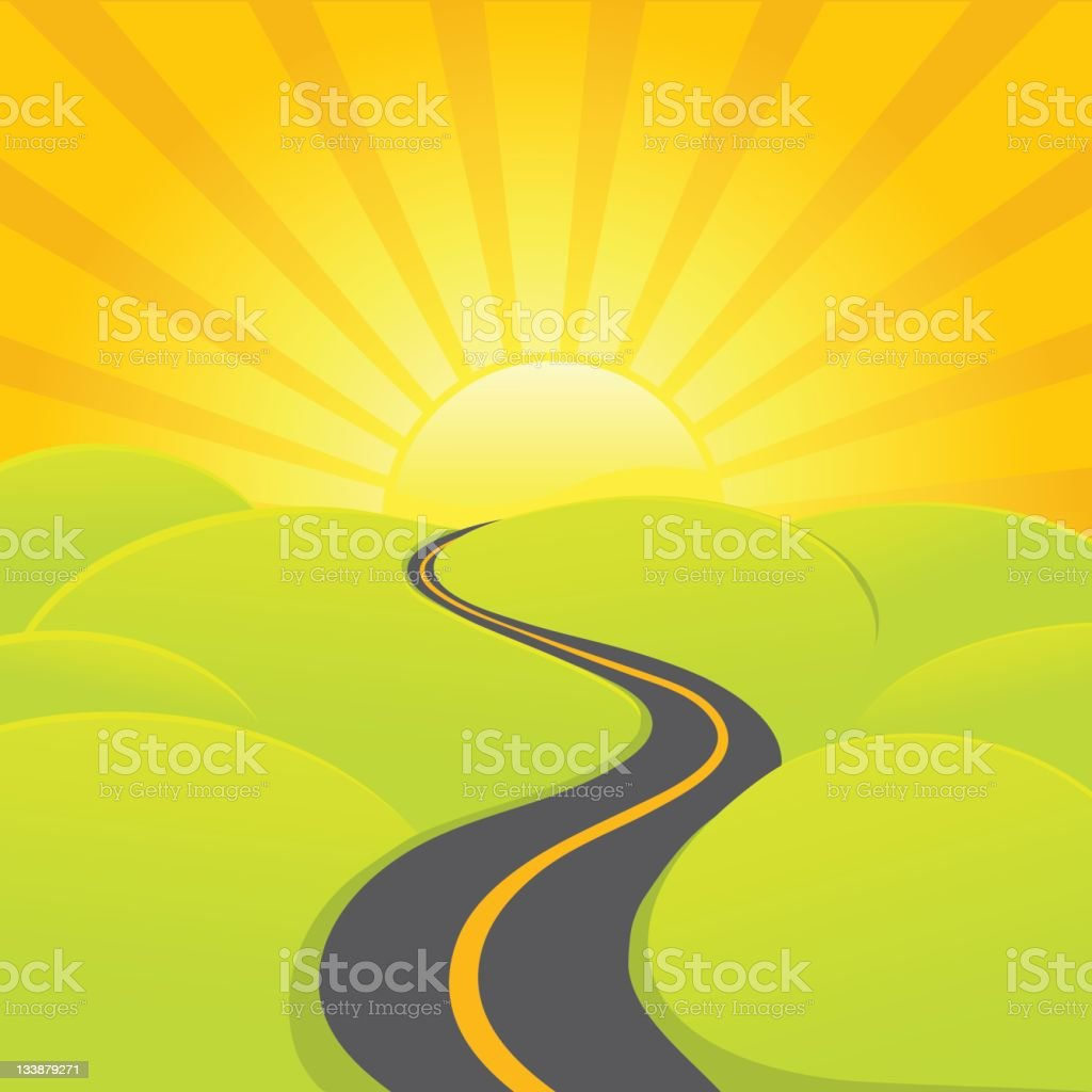 A sunrise road is winding through the country vector art illustration