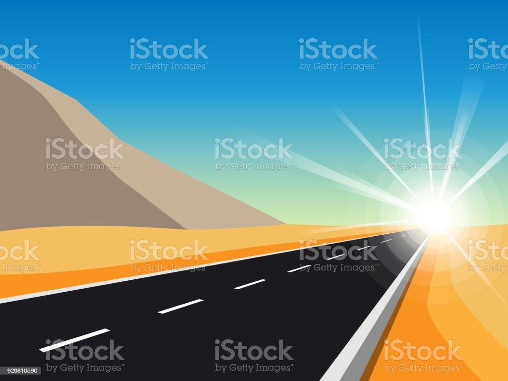 Sunrise Road to Infinity vector art illustration