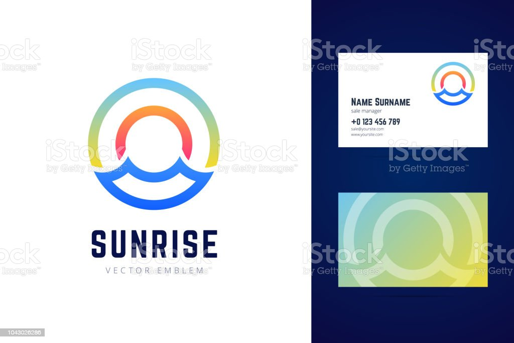 Sunrise sign and business card template sea waves sun and sky sunrise sign and business card template sea waves sun and sky symbols royalty reheart Images