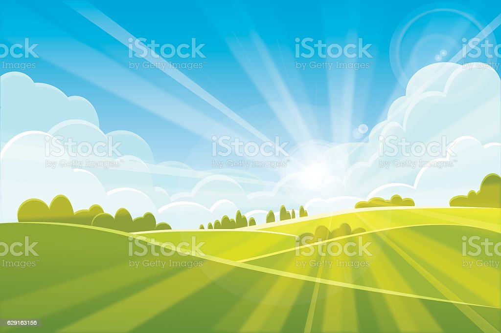 Sunrise summer or spring landscape - vector illustration - Illustration vectorielle