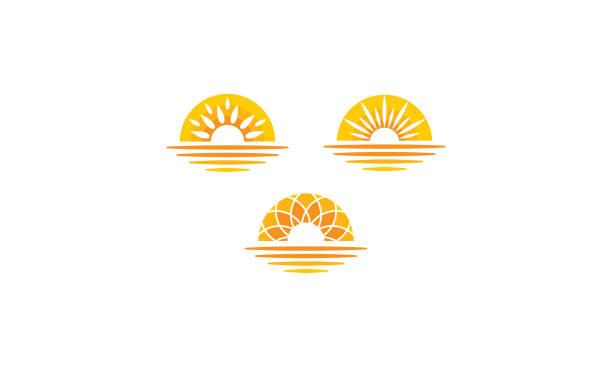 ikona wektora morskiego wschodu słońca - zachód słońca stock illustrations