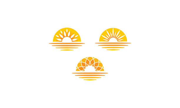 sunrise sunset sea logo vector icon - zachód słońca stock illustrations