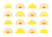 Sunrise & sunset symbol collection. Horison flat vector icons. Morning sunlight signs. Isolated object on white background. Yellow sun rise over horison