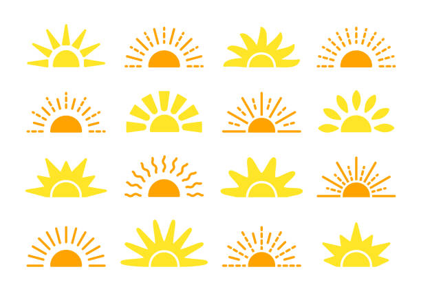 sunrise & sunset symbol collection. flat vector icons. morning sunlight signs. isolated objects. yellow sun rise over horison - sunrise stock illustrations