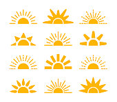 Sunrise & sunset symbol collection. Horizon flat vector icons. Morning sun light signs. Isolated objects