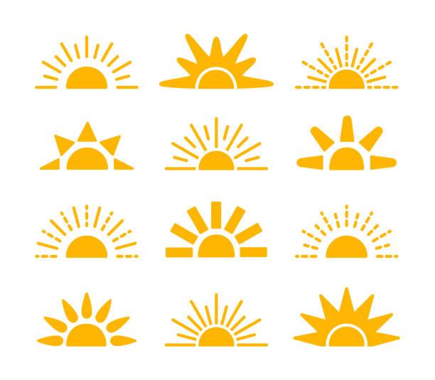 kolekcja symboli wschodu i zachodu słońca. ikony wektora płaskiego horizon. znaki porannego światła słonecznego. obiekt izolowany. żółte słońce wschonie nad horyzontem. - horyzont stock illustrations