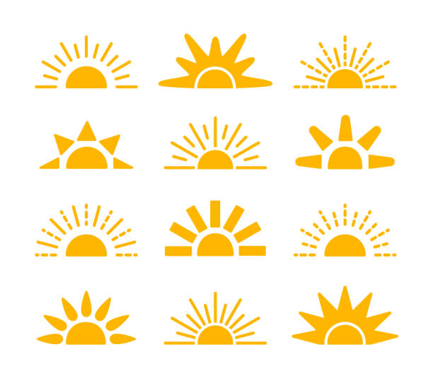 sunrise & sunset symbol collection. horizon flat vector icons. morning sunlight signs. isolated object. yellow sun rise over horison. - sunrise stock illustrations