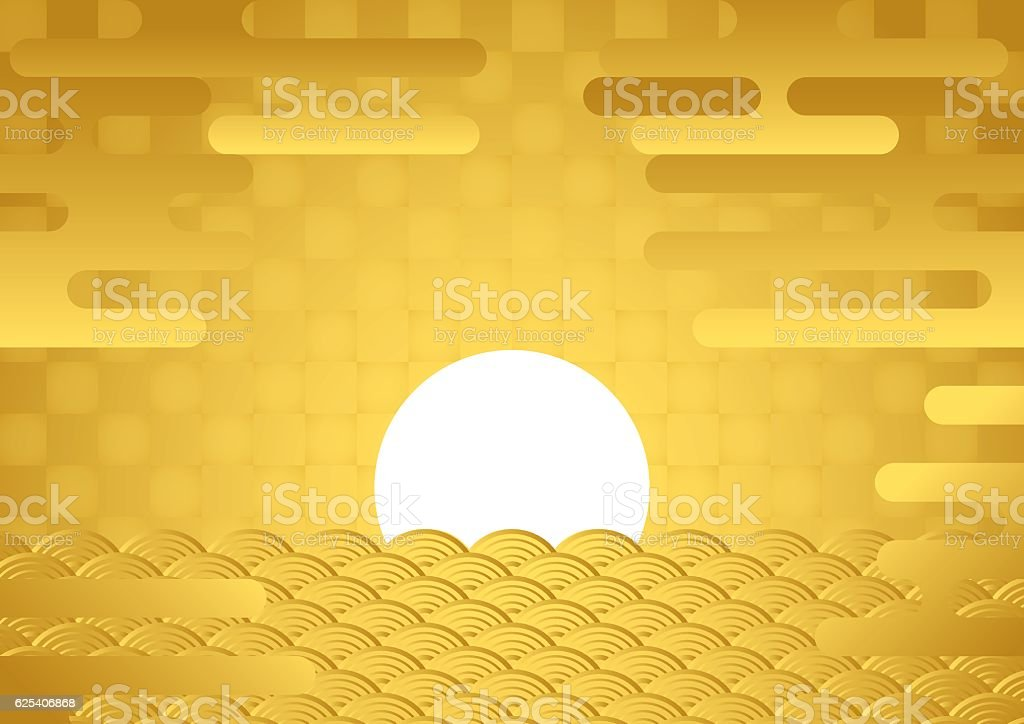 Sunrise. Tradition of Japan. vector art illustration