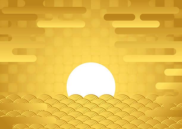 Sunrise. Tradition of Japan. vector art illustration