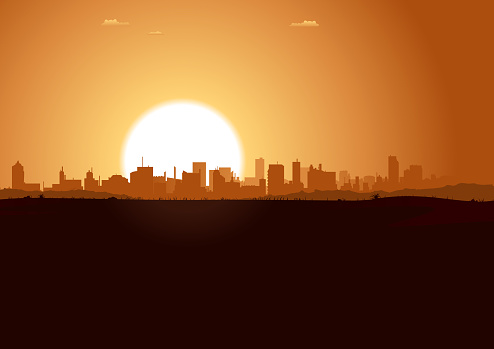 Vector illustration of a summer urban landscape in the sunrise. Vector eps and high resolution jpeg files included.