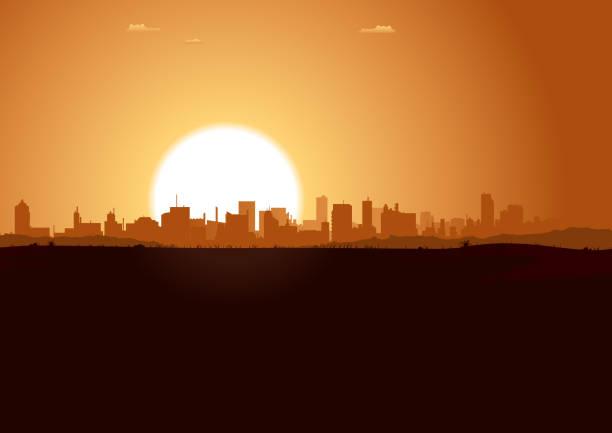 illustrazioni stock, clip art, cartoni animati e icone di tendenza di sunrise paesaggio urbano - calore concetto
