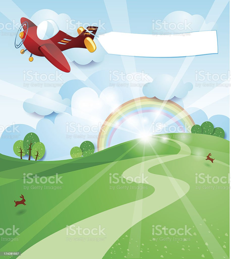 Sunrise with airplane and banner royalty-free stock vector art