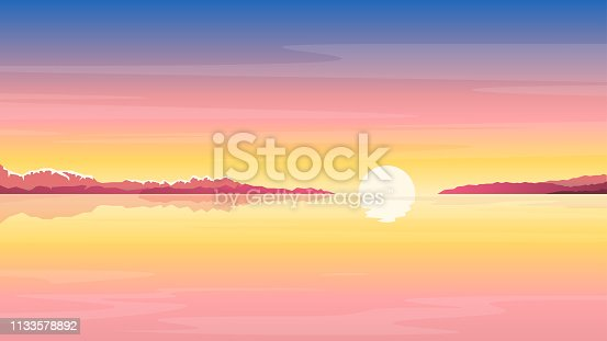 Sea sunrise landscape in yellow colors, nature landscape illustration, morning fog on lake, sunset on the beach background