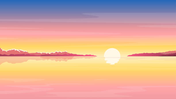 bildbanksillustrationer, clip art samt tecknat material och ikoner med sunrise_at_sea_nature_background - soluppgång