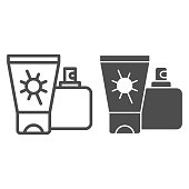 Sunscreen and spray line and solid icon, Aquapark concept, Sun cream containers sign on white background, Sun protection cream and spray icon in outline style for mobile, web design. Vector graphics