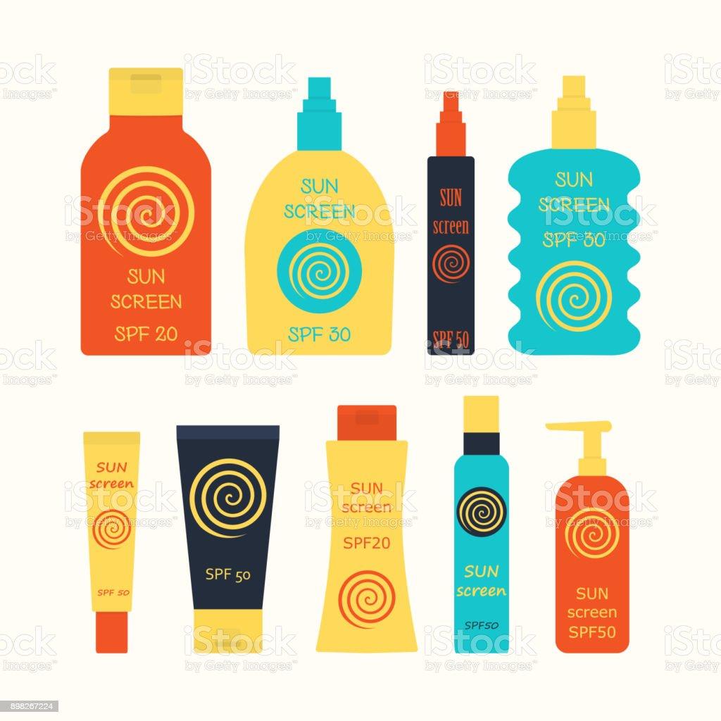 sunscreen bottle set vector art illustration