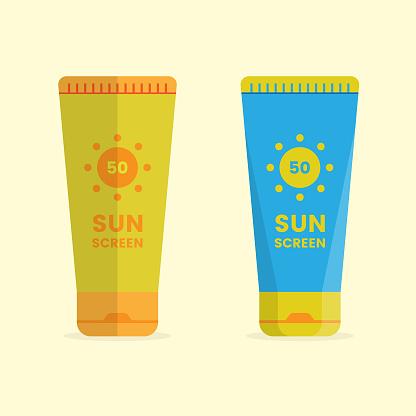 Sunscreen Cream Icon Set Flat Design.