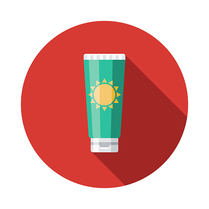 Sunscreen Flat Design Summer Icon with Side Shadow