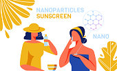 Sunscreen Skincare Products with Nanoparticles Advertisement. Cartoon Woman Customers Characters Using New Beauty Protective Products with Nano UF Filter Ingredients. Vector Flat Illustration