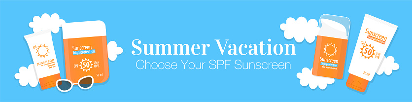 SPF sunscreen summer web banner. Different spf sunscreen bottles, tubes, lotions, cream and sunglasses on blue cloudy background banner with space for your text. Summer travel flat vector illustration