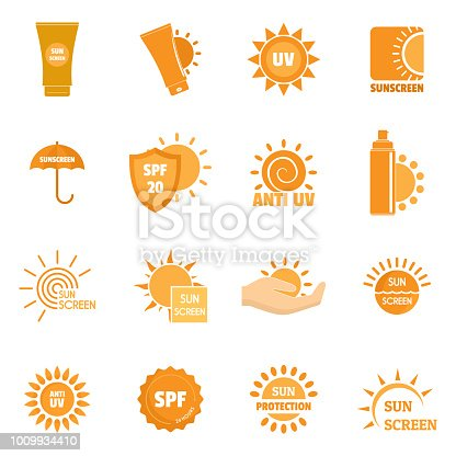 Sunscreen sun protection symbol icons set. Flat illustration of 16 sunscreen sun protection symbol vector icons for web