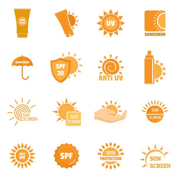 ilustrações de stock, clip art, desenhos animados e ícones de sunscreen sun protect symbol icons set, flat style - protetor solar