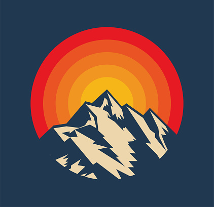 Sunset above mountains peak silhouette. Vintage styled mountain logo or sticker or poster template. Vector illustration