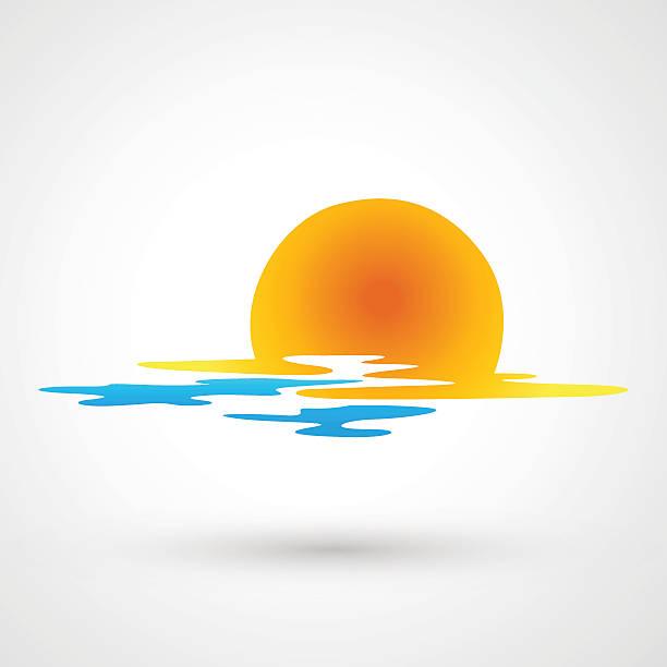 Coucher du soleil et de vagues de la mer s'icône - Illustration vectorielle