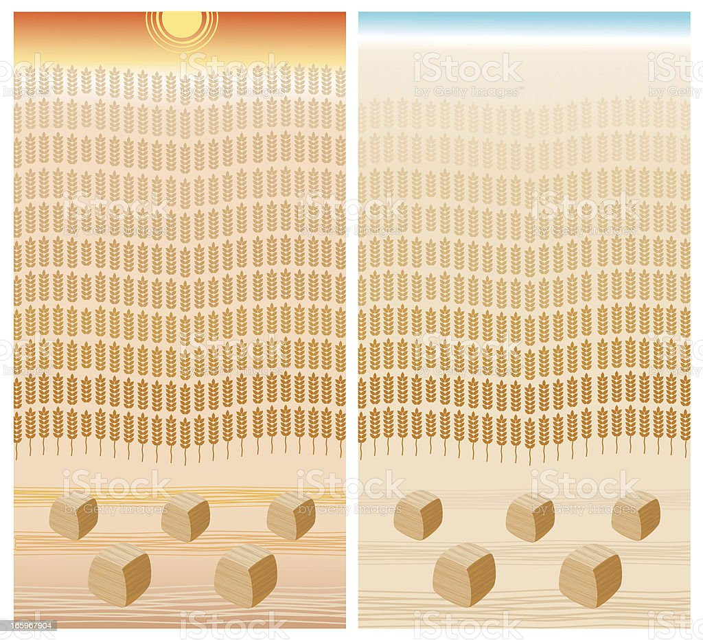 Sunset and Sunrise, Wheat Field, Haystacks royalty-free stock vector art