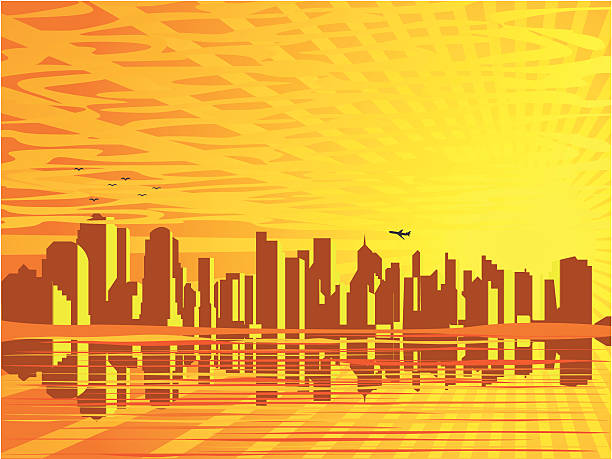 Sunset And The Big City vector art illustration
