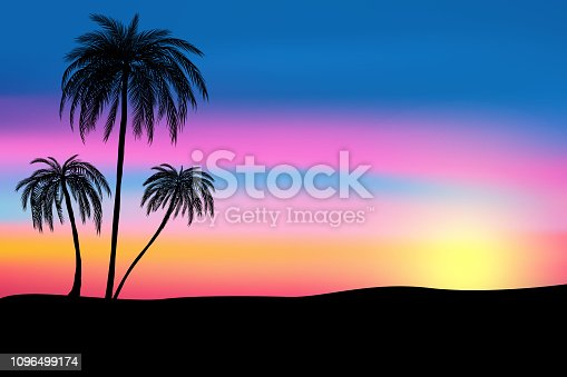 Sunset and tropical palm trees with colorful landscape background, vector, illustration, eps 10 file