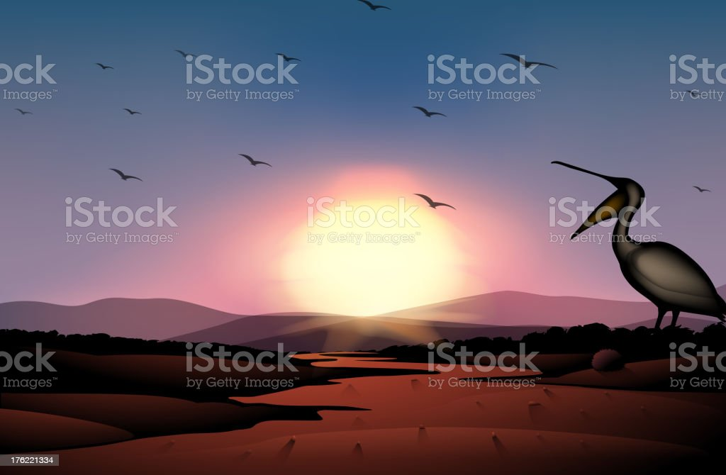 Sunset at the desert with a flock of birds vector art illustration