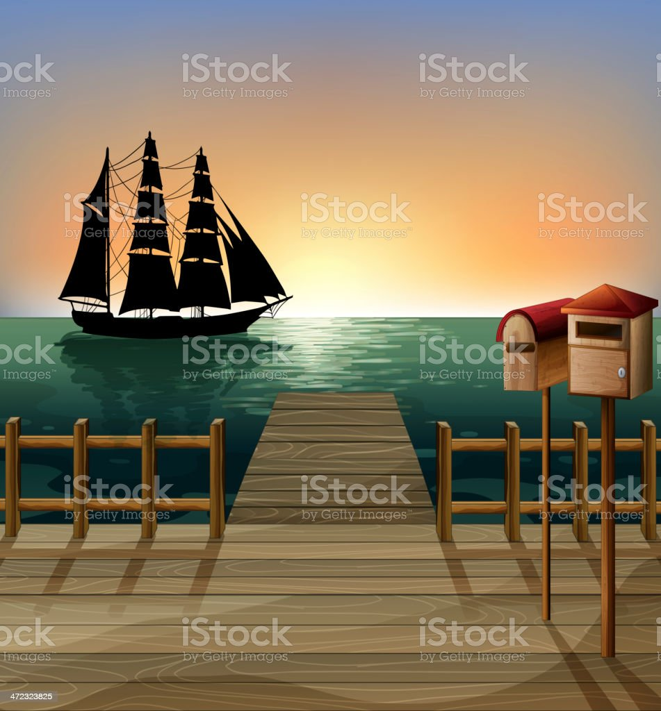 sunset at the port vector art illustration